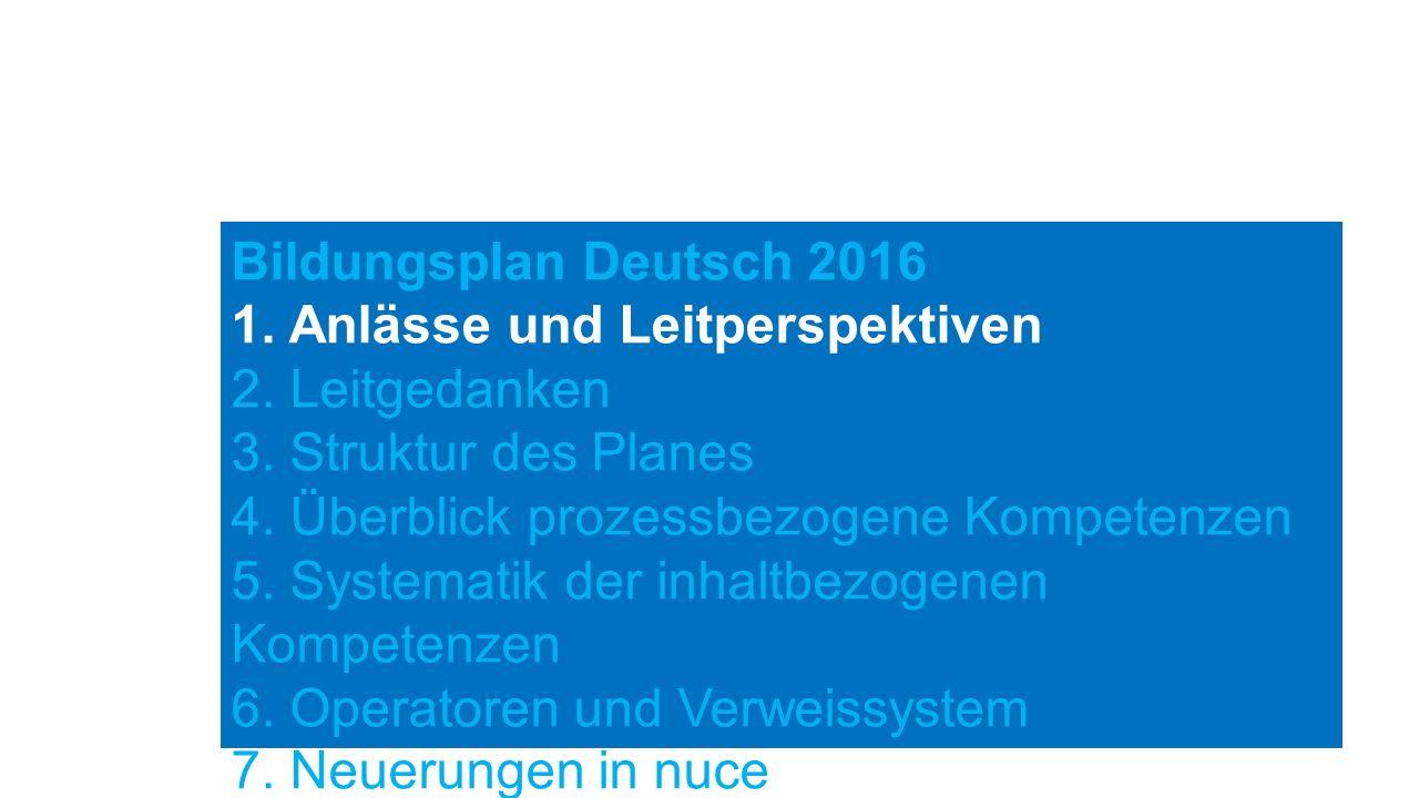 Bildungsplan Deutsch 2016 1. Anlässe und Leitperspektiven 2