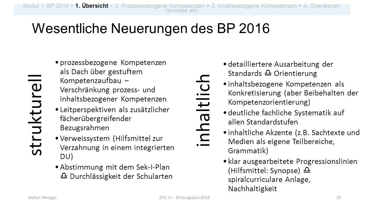 strukturell inhaltlich Wesentliche Neuerungen des BP 2016
