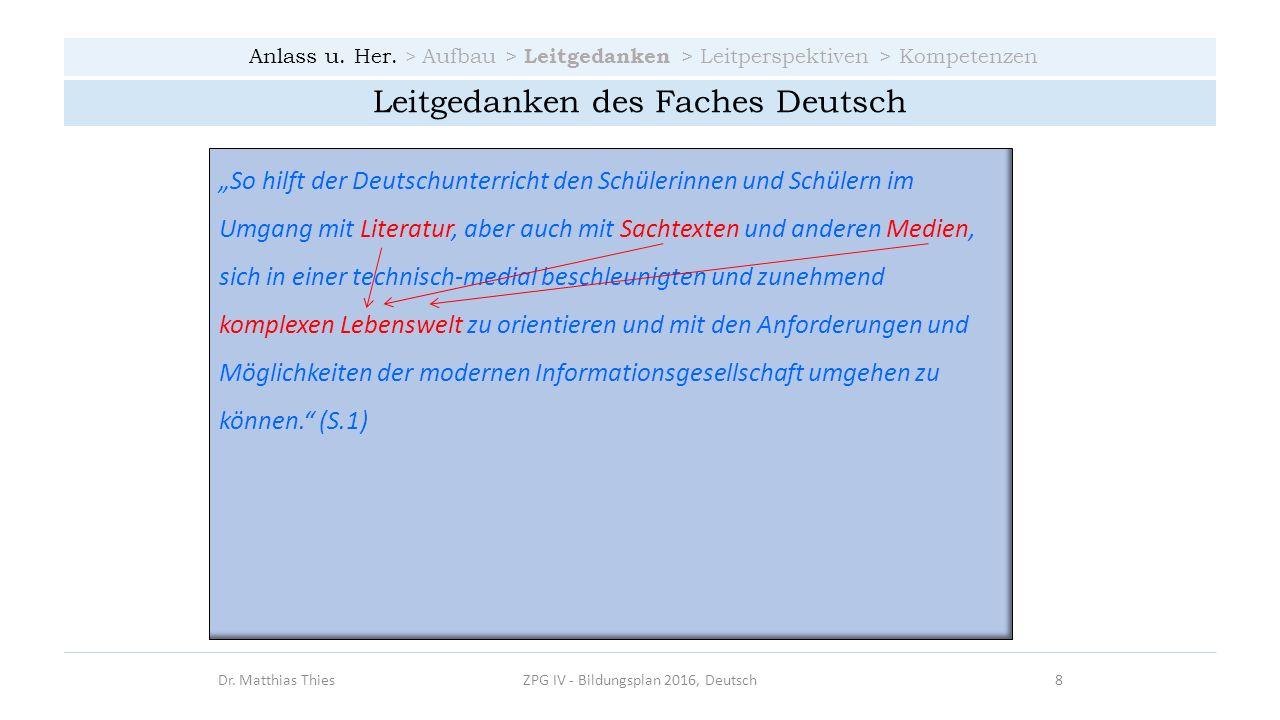 Leitgedanken des Faches Deutsch