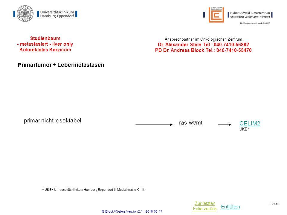 Studienbaum - metastasiert - liver only Kolorektales Karzinom