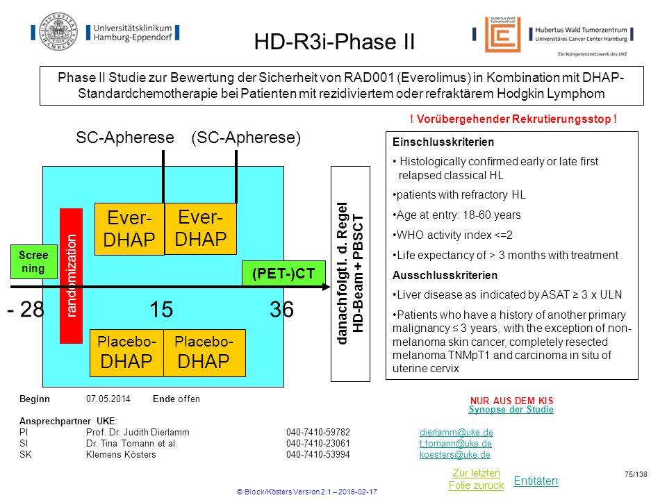 danach folgt i. d. Regel HD-Beam + PBSCT