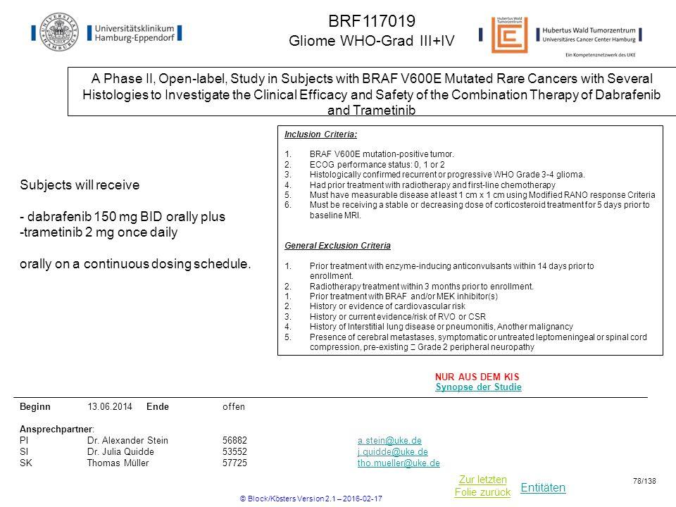 BRF117019 Gliome WHO-Grad III+IV