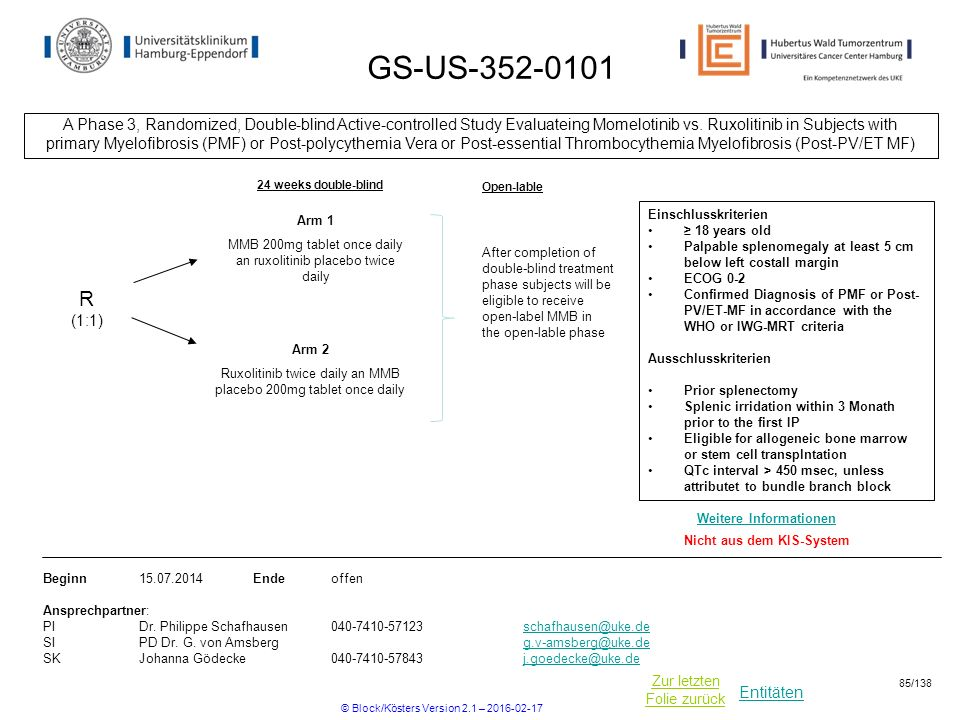 GS-US A Phase 3, Randomized, Double-blind Active-controlled Study Evaluateing Momelotinib vs. Ruxolitinib in Subjects with.