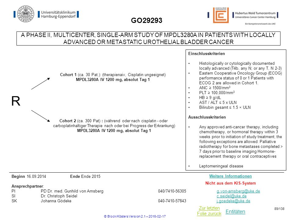 GO29293 A PHASE II, MULTICENTER, SINGLE-ARM STUDY OF MPDL3280A IN PATIENTS WITH LOCALLY ADVANCED OR METASTATIC UROTHELIAL BLADDER CANCER.