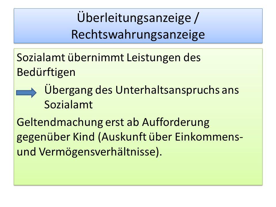 Überleitungsanzeige / Rechtswahrungsanzeige