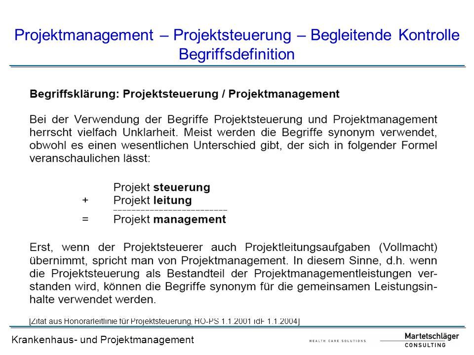 Projektmanagement – Projektsteuerung – Begleitende Kontrolle Begriffsdefinition