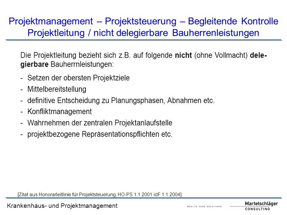 Projektmanagement – Projektsteuerung – Begleitende Kontrolle Projektleitung / nicht delegierbare Bauherrenleistungen
