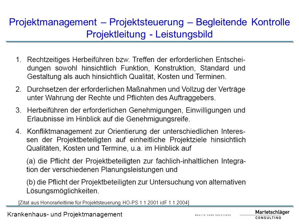 Projektmanagement – Projektsteuerung – Begleitende Kontrolle Projektleitung - Leistungsbild