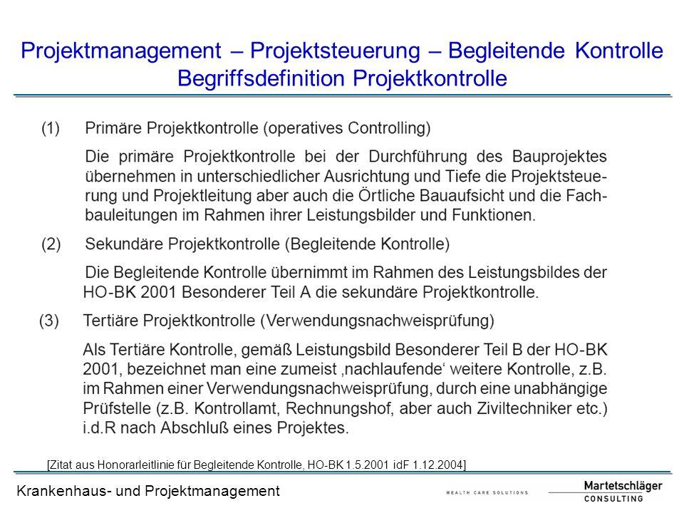 Projektmanagement – Projektsteuerung – Begleitende Kontrolle Begriffsdefinition Projektkontrolle