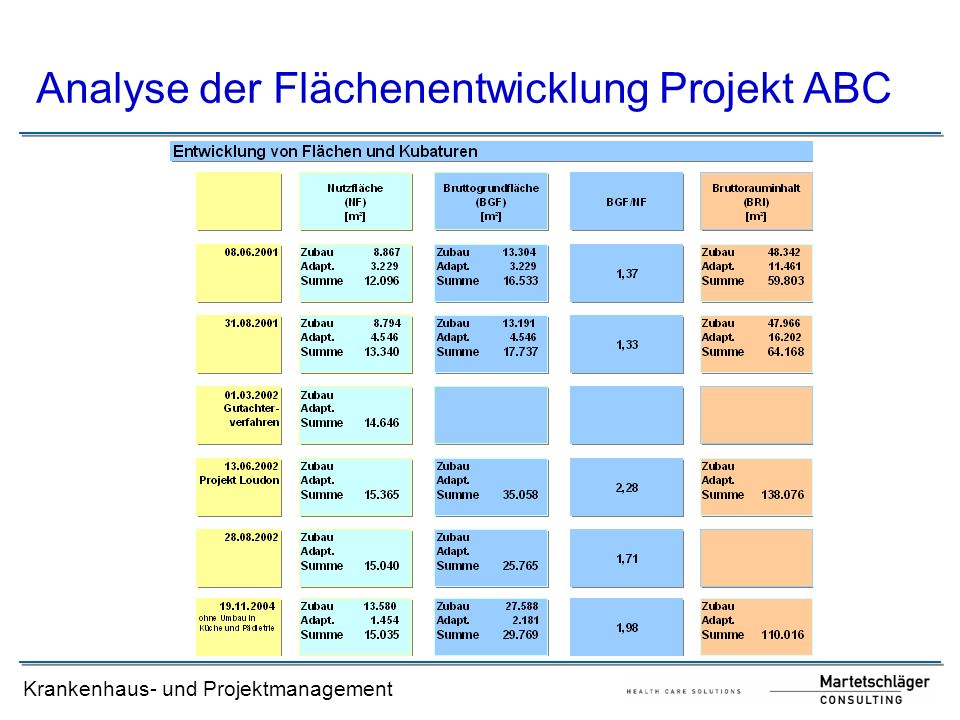 Analyse der Flächenentwicklung Projekt ABC