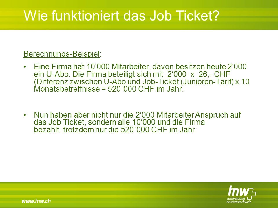 Wie funktioniert das Job Ticket