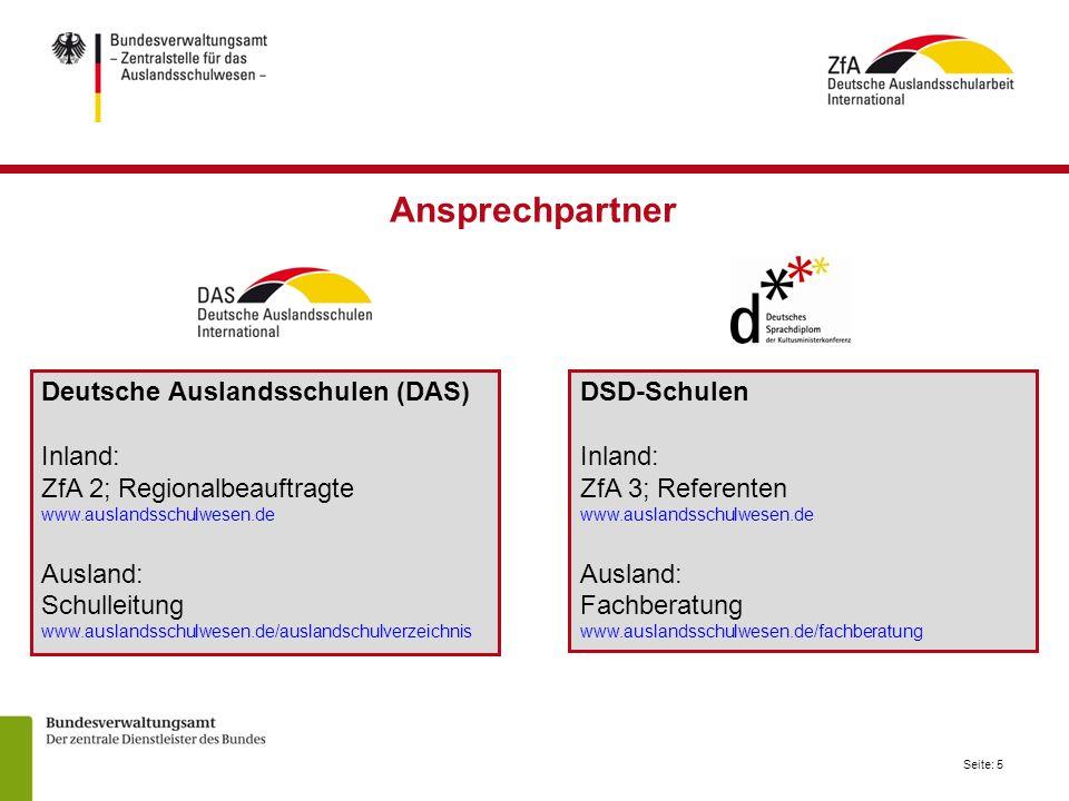 Ansprechpartner Deutsche Auslandsschulen (DAS) Inland: