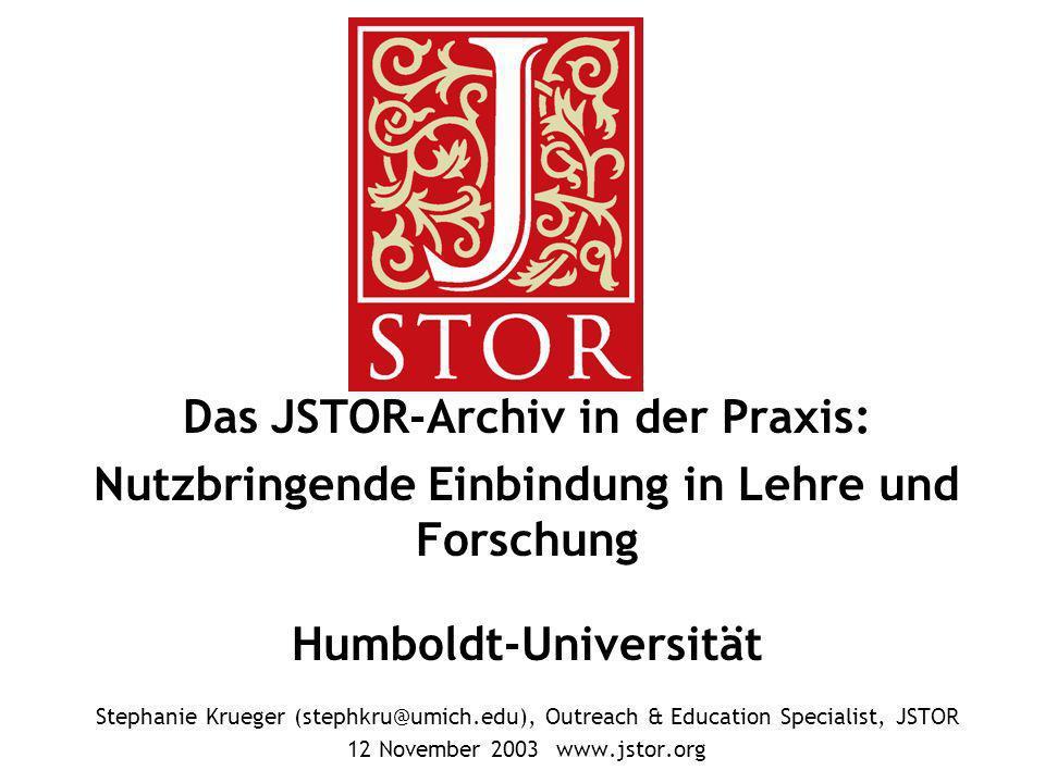 Das JSTOR-Archiv in der Praxis: