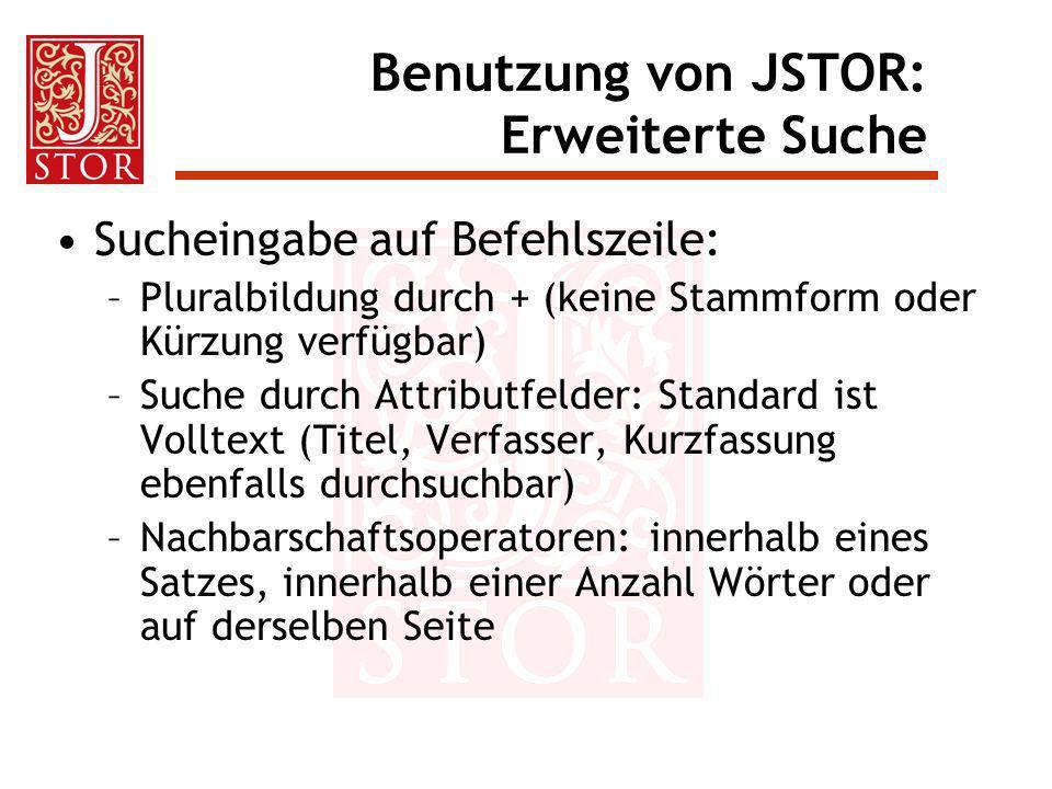 Benutzung von JSTOR: Erweiterte Suche