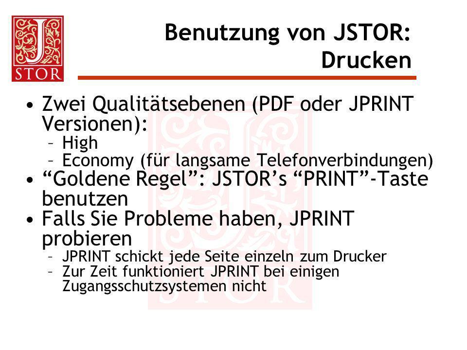 Benutzung von JSTOR: Drucken