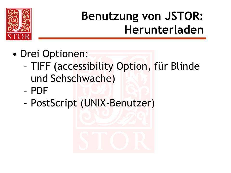 Benutzung von JSTOR: Herunterladen