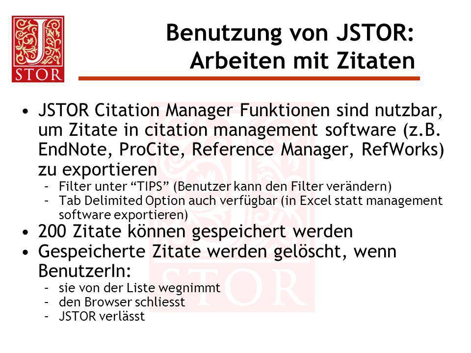 Benutzung von JSTOR: Arbeiten mit Zitaten