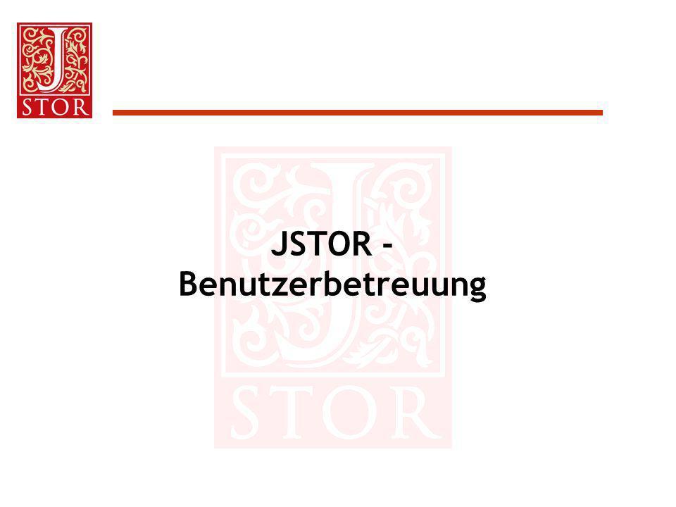 JSTOR - Benutzerbetreuung
