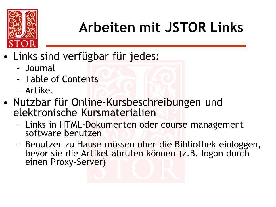 Arbeiten mit JSTOR Links