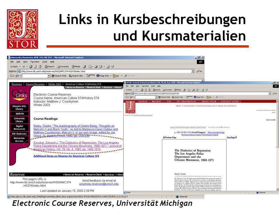 Links in Kursbeschreibungen und Kursmaterialien