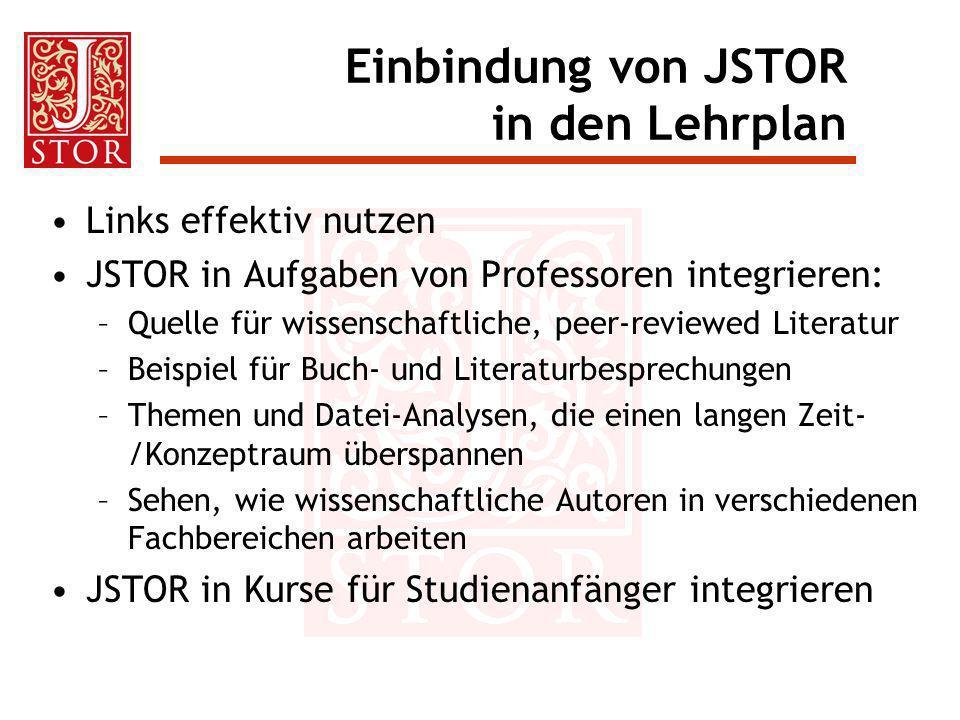 Einbindung von JSTOR in den Lehrplan