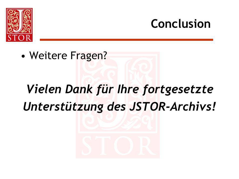 Vielen Dank für Ihre fortgesetzte Unterstützung des JSTOR-Archivs!