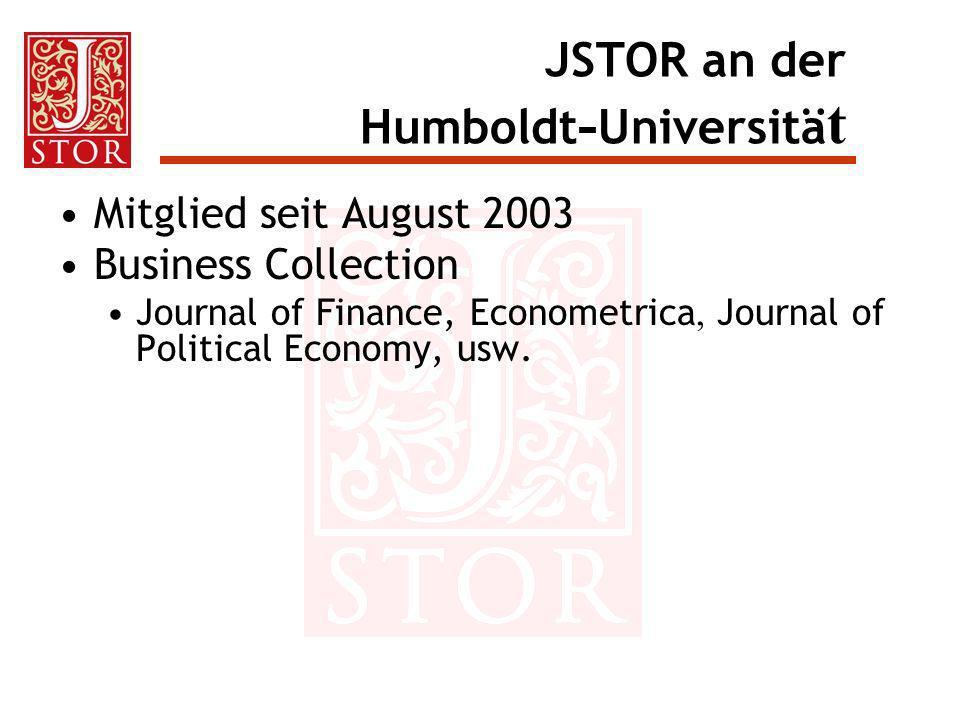 JSTOR an der Humboldt-Universität