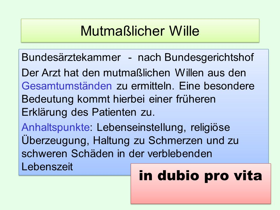 Mutmaßlicher Wille in dubio pro vita