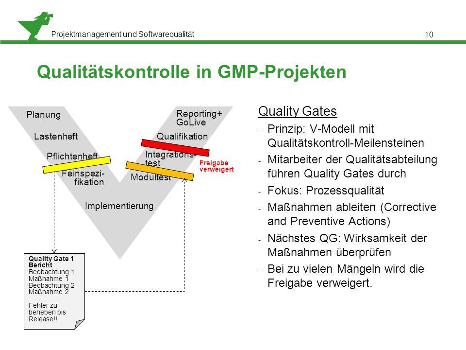 Qualitätskontrolle in GMP-Projekten