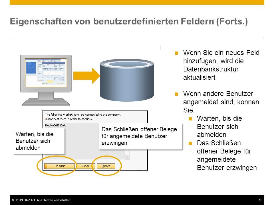 Eigenschaften von benutzerdefinierten Feldern (Forts.)