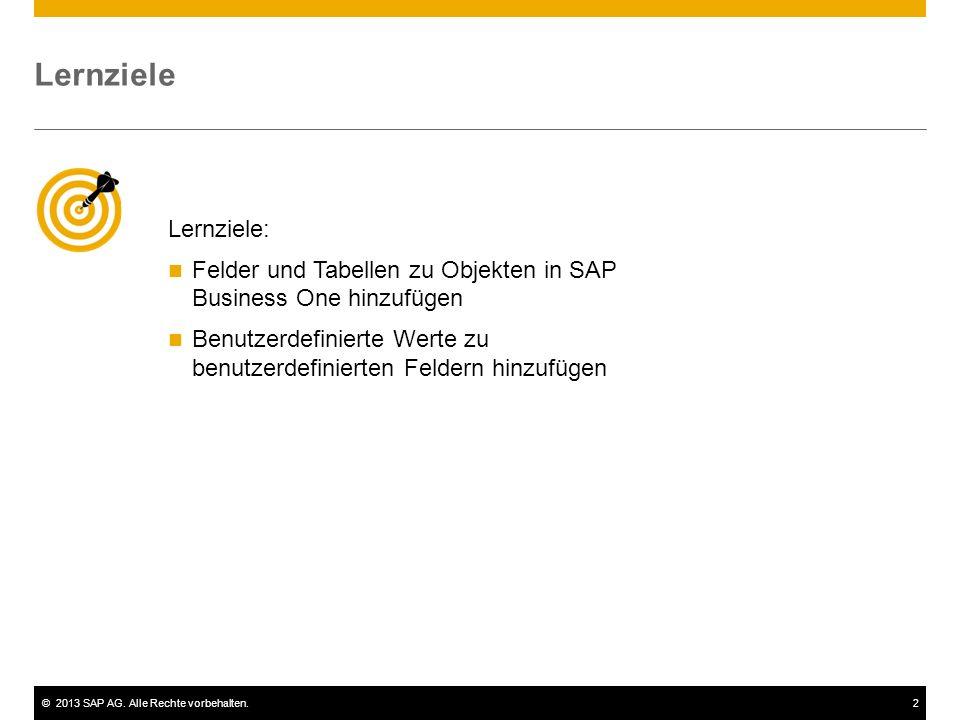 Lernziele Lernziele: Felder und Tabellen zu Objekten in SAP Business One hinzufügen.