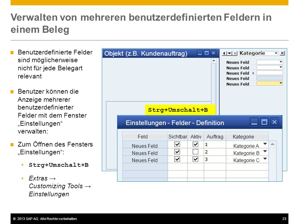 Verwalten von mehreren benutzerdefinierten Feldern in einem Beleg