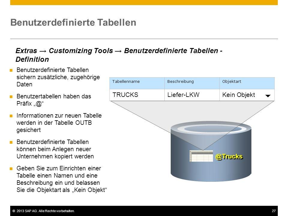 Benutzerdefinierte Tabellen