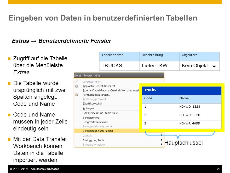 Eingeben von Daten in benutzerdefinierten Tabellen