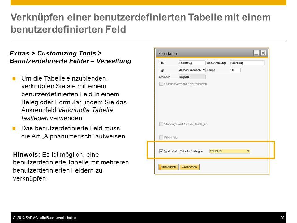 Verknüpfen einer benutzerdefinierten Tabelle mit einem benutzerdefinierten Feld