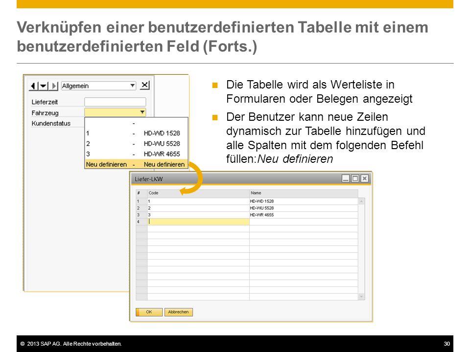 Verknüpfen einer benutzerdefinierten Tabelle mit einem benutzerdefinierten Feld (Forts.)