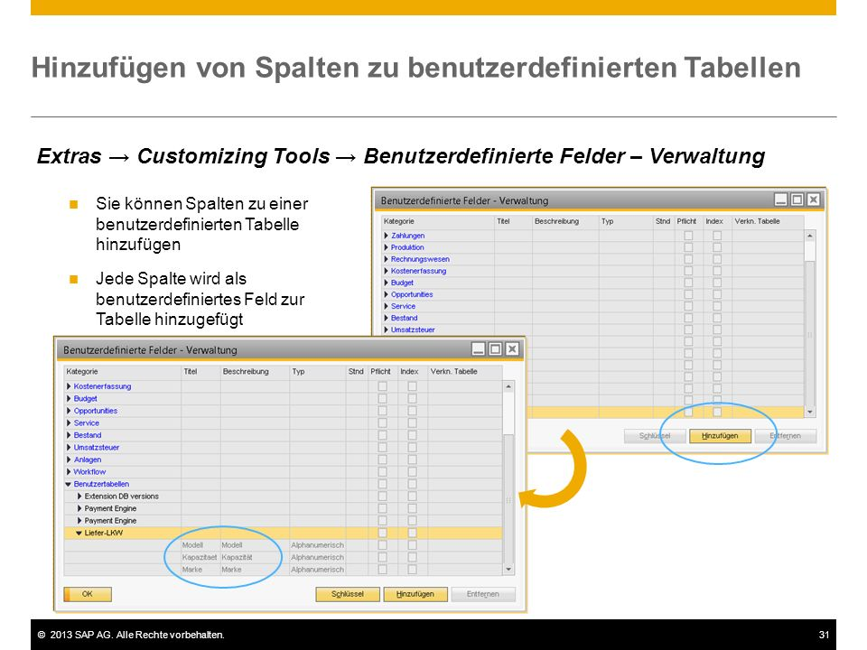 Hinzufügen von Spalten zu benutzerdefinierten Tabellen