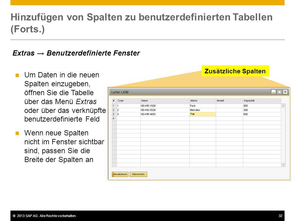 Hinzufügen von Spalten zu benutzerdefinierten Tabellen (Forts.)