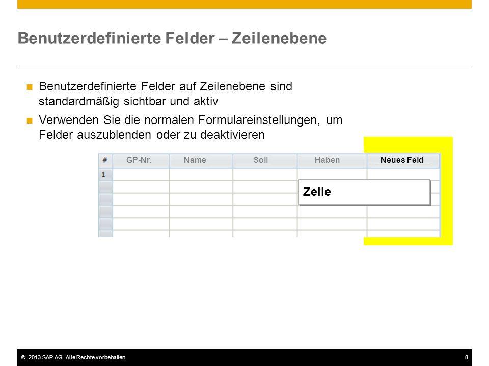 Benutzerdefinierte Felder – Zeilenebene