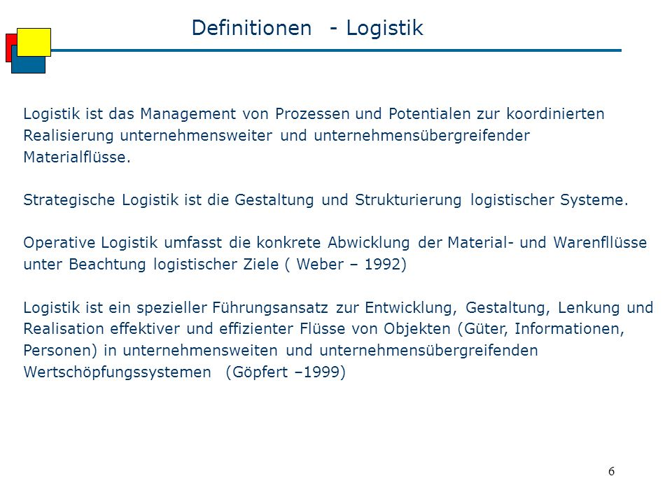 Definitionen - Logistik