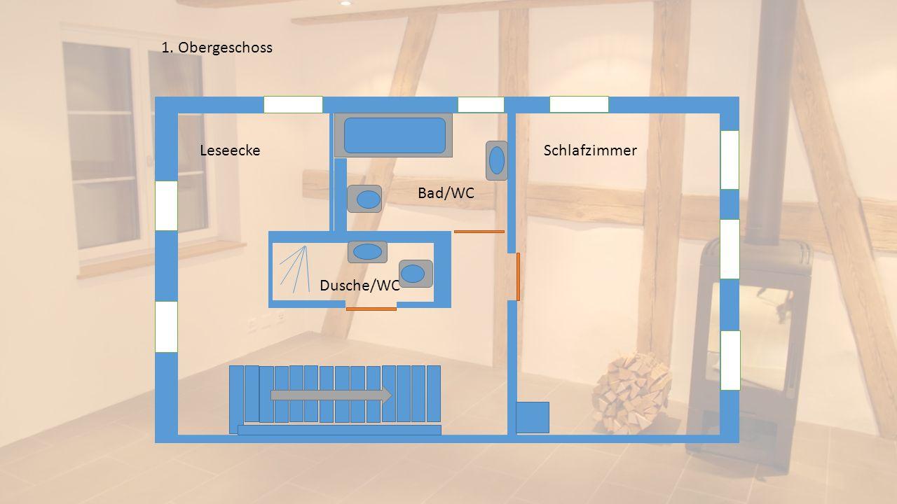 1. Obergeschoss Leseecke Schlafzimmer Bad/WC Dusche/WC