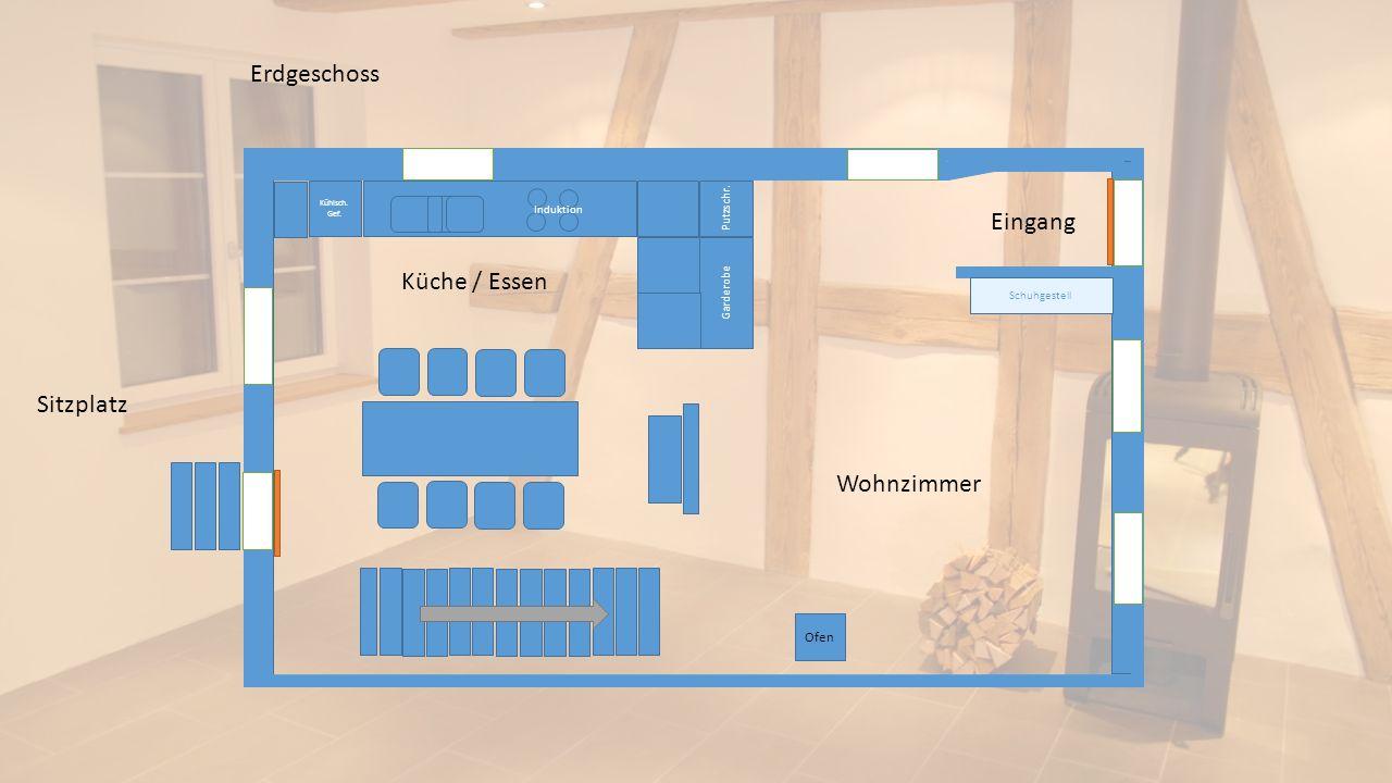 Erdgeschoss Eingang Küche / Essen Sitzplatz Wohnzimmer Ofen Putzschr.
