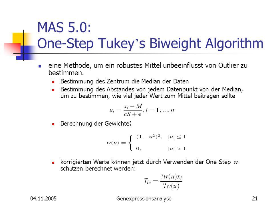 MAS 5.0: One-Step Tukey's Biweight Algorithm