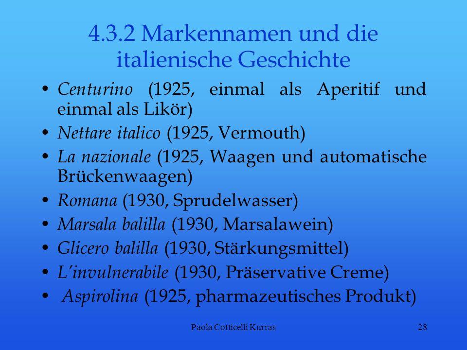 4.3.2 Markennamen und die italienische Geschichte