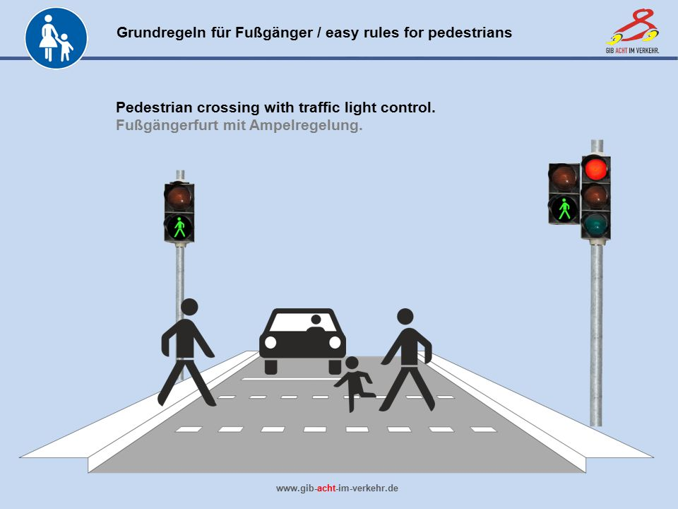 Pedestrian crossing with traffic light control.