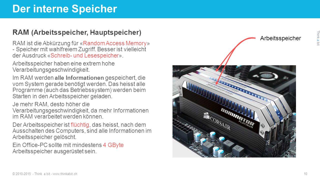 Der interne Speicher RAM (Arbeitsspeicher, Hauptspeicher)