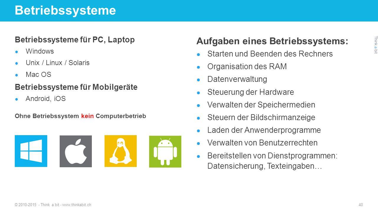 Betriebssysteme Aufgaben eines Betriebssystems: