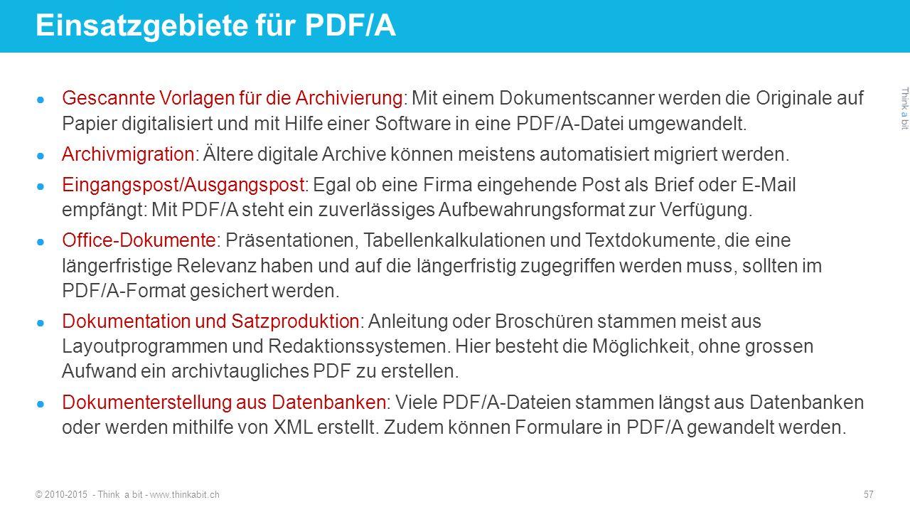 Einsatzgebiete für PDF/A