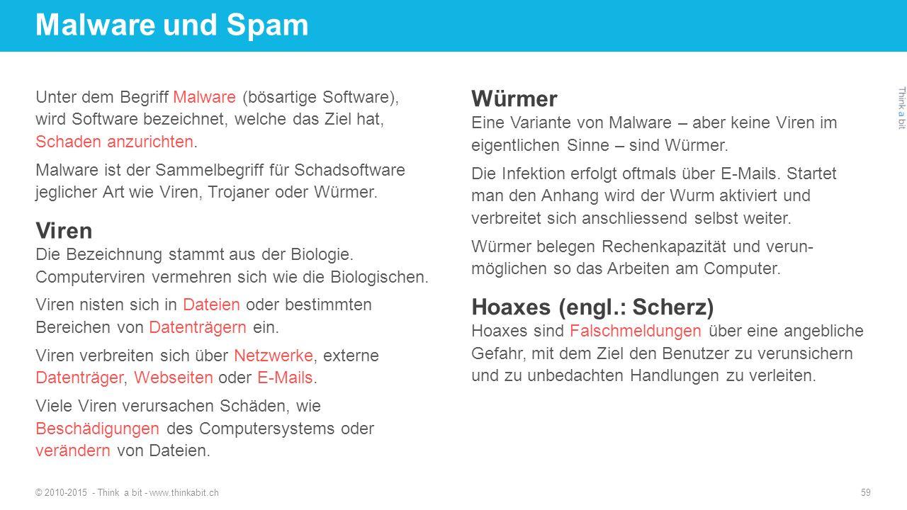 Malware und Spam Würmer Viren Hoaxes (engl.: Scherz)