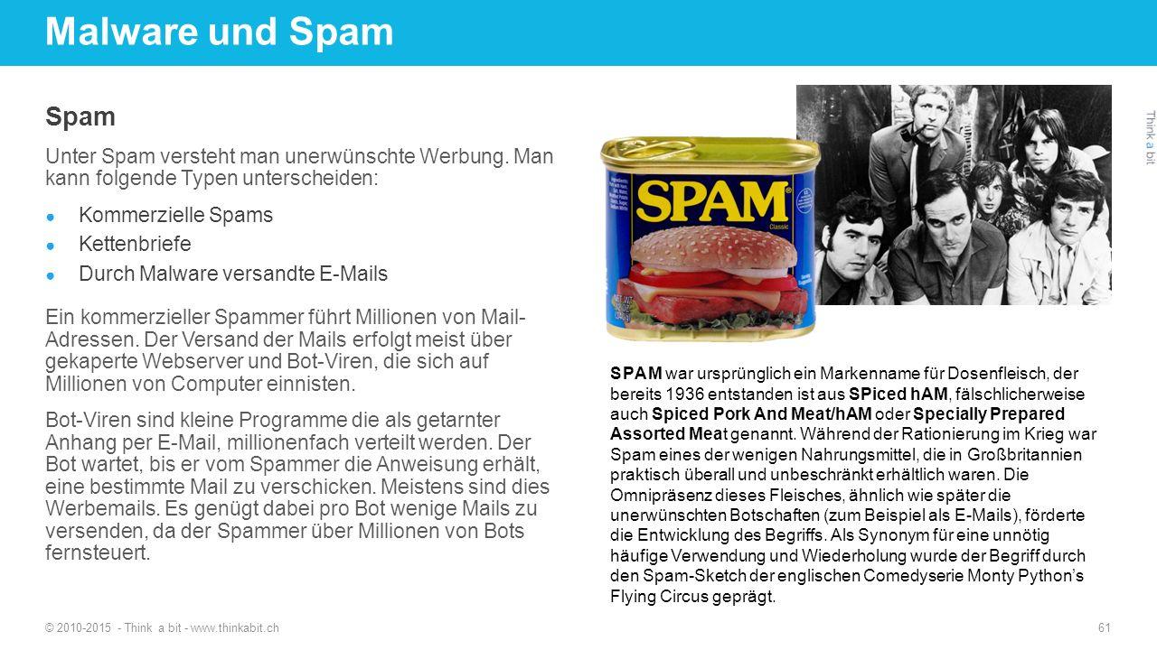 Malware und Spam Spam. Unter Spam versteht man unerwünschte Werbung. Man kann folgende Typen unterscheiden: